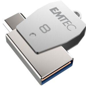 USB FlashDrive 8GB EMTEC 2in1 Dual micro-USB T250 chrom