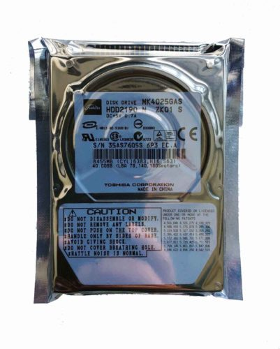 HDD Toshiba MK4025GAS 40 GB IDE ,Internal,4200 RPM,2.5″ (HDD2190)