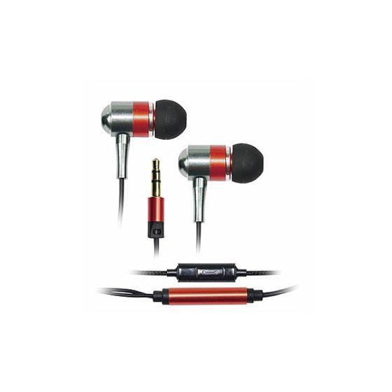 Ακουστικό με μικρόφωνο Μεταλλικό Κόκκινο Vakoss