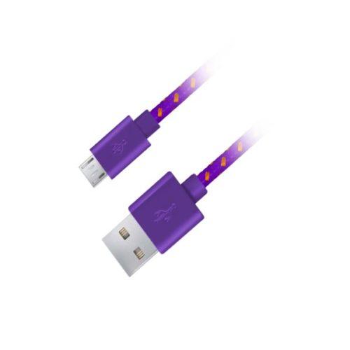 Καλώδιο Micro USB 2.0 1m Fabric braided μωβ