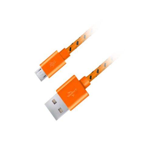 Καλώδιο Micro USB 2.0 1m Fabric braided πορτοκαλί