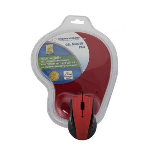Σετ Ενσύρματο Ποντίκι με Gel Mouse Pad κόκκινο EM125R