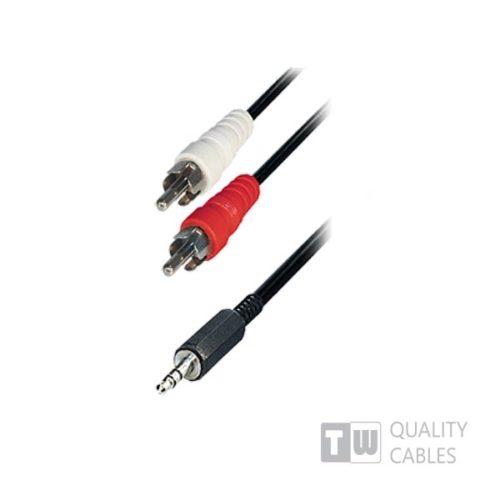 5m Stereo 3.5MM Plug To 2RCA Plug Nickel