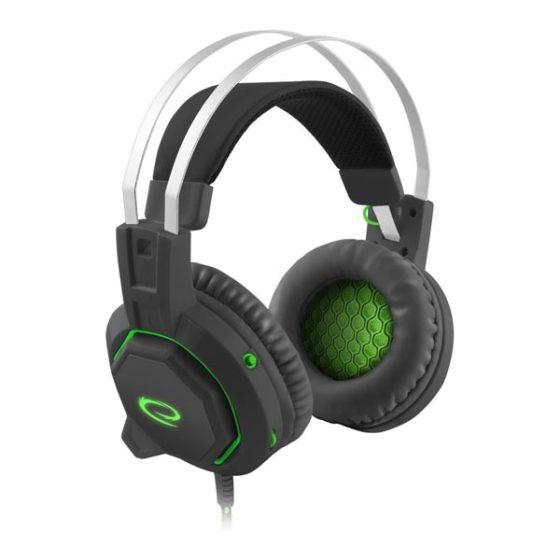 Iceman Ακουστικό 50mm με μικρόφωνο 7.1 gaming μαύρο-πράσινο EGH7000