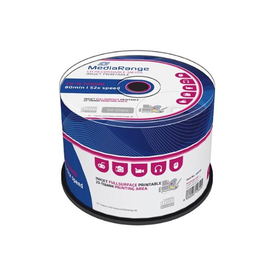 MR208 MediaRange CD-R 80 52x Inkjet Fullsurface Printable cakebox 50 Pack