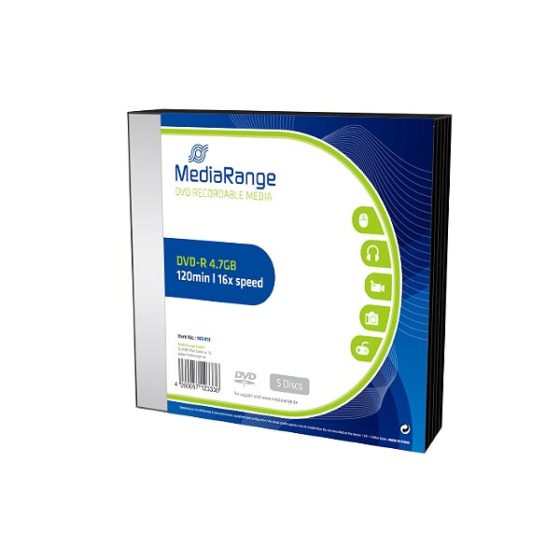 MR418 MediaRange DVD-R 16x slim pack of 5pcs