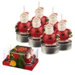 Christmas Tea Light Candle Set of 6 - Jingle Bells Santa
