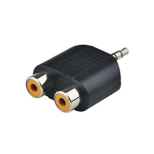 headphone/pc speaker plug twin phono socket adaptor