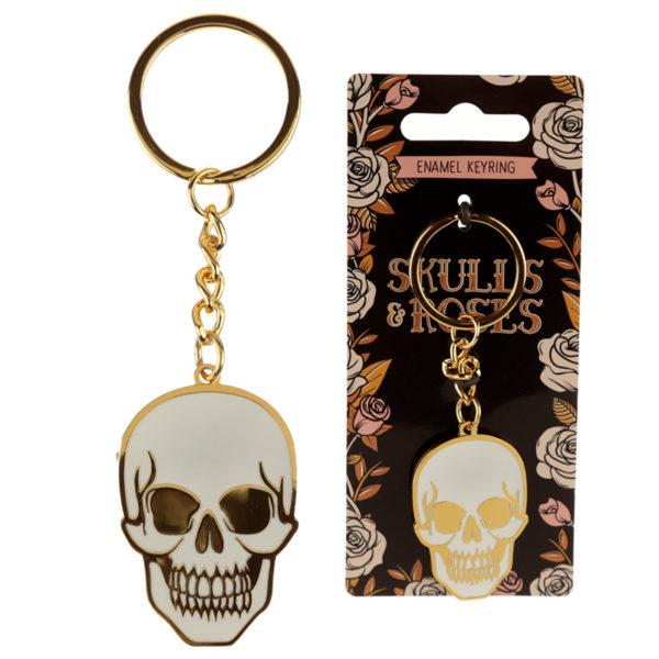 Fun Collectable Skulls  and  Roses Enamel Keyring