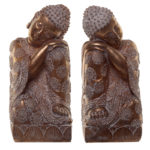 Thai Buddha Figurine - Gold and White Bookends