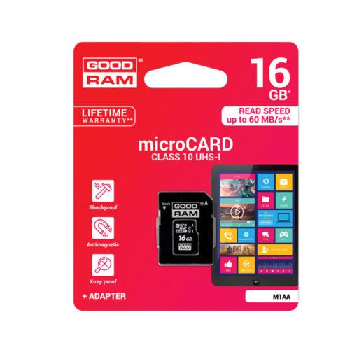 Καρτα Μνημης Trans Flash 16GB GoodRam Με Ανταπτορα SD Class 10