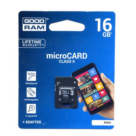 Καρτα Μνημης Trans Flash 16GB GoodRam Με Ανταπτορα SD Class 4