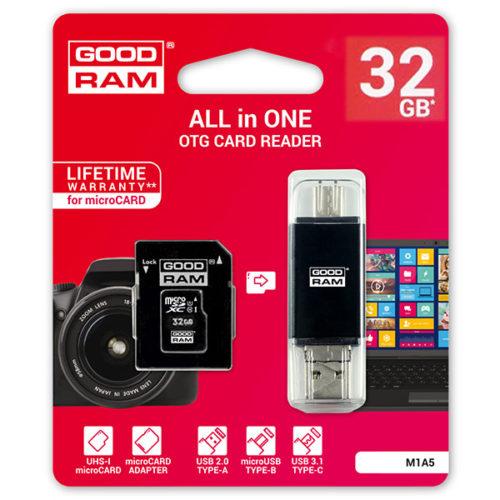 Καρτα Μνημης Trans Flash 32GB GoodRam + Αναγνωστης Καρτων OTG USB 3.1 Class 10