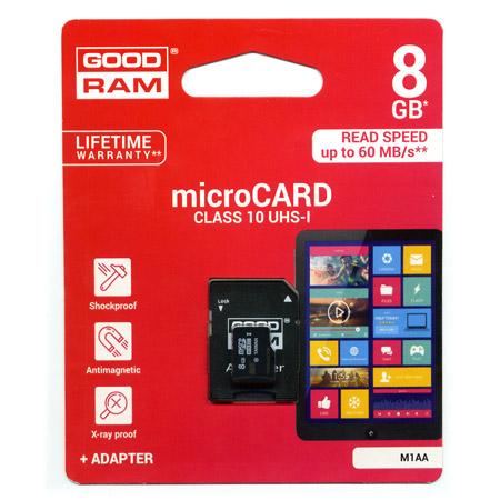 Καρτα Μνημης Trans Flash 8GB GoodRam Με Ανταπτορα SD Class 10 UHS-I U3