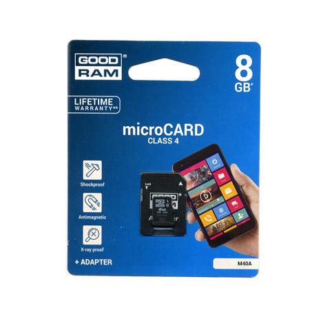 Καρτα Μνημης Trans Flash 8GB GoodRam Με Ανταπτορα SD Class 4