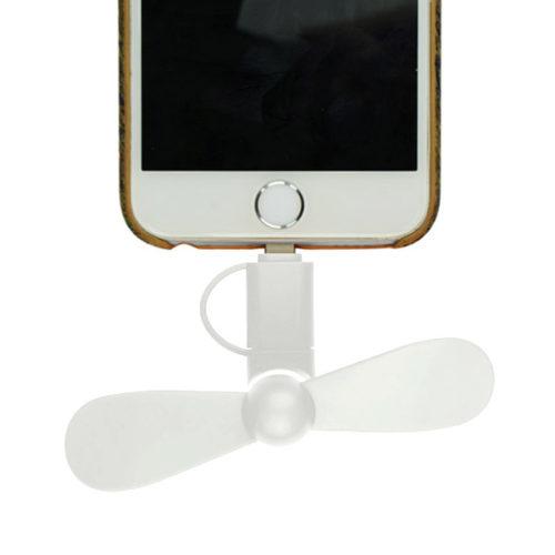 Μινι Ανεμιστηρακι GNG Με Υποδοχη Micro Usb & Lightning Άσπρο
