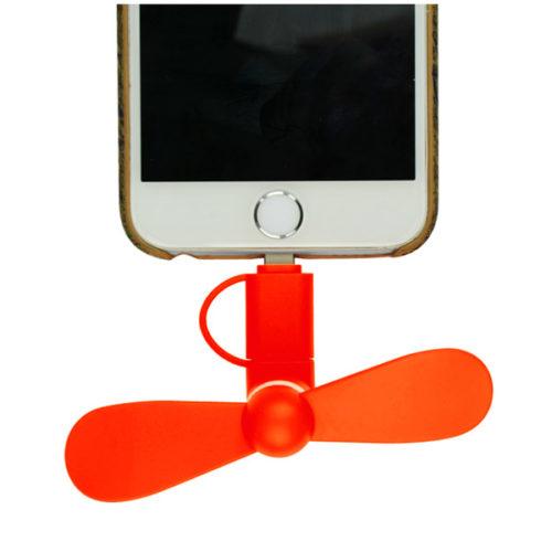 Μινι Ανεμιστηρακι GNG Με Υποδοχη Micro Usb & Lightning Πορτοκαλι