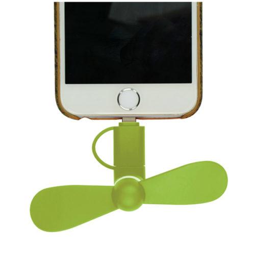 Μινι Ανεμιστηρακι GNG Με Υποδοχη Micro Usb & Lightning Πρασινο