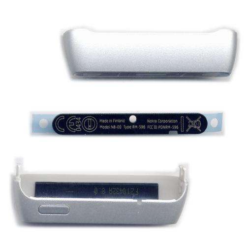 Πανω-Κατω Μερος Προσοψης Για Nokia N8 OEM Ασημι Με Κουμπακια Πλαστικα με Κεραια