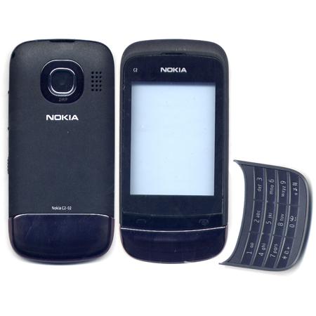 Προσοψη Για Nokia C2-02 Μαυρη OEM Full Με Πλαστικα Κουμπακια-Πληκτρολογιο-Χωρις Αρθρωση