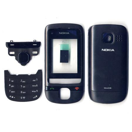 Προσοψη Για Nokia C2-05 Μαυρη Full Με Τζαμι Και Sim Holder-Πλαστικες Ταπες-Χωρις Πληκτρολογια-Χωρις Αρθρωση OEM