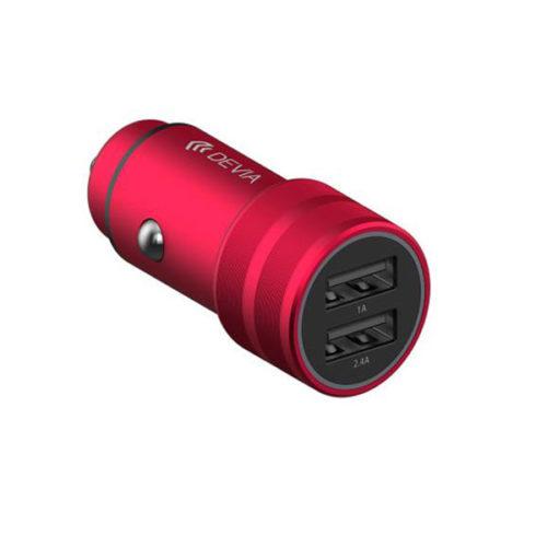 Φορτιστης Αυτοκινητου Devia με 2 Θυρες USB 2.4A 12W Κοκκινος