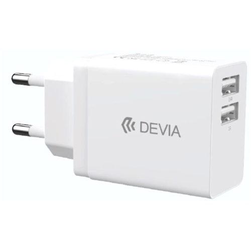 Φορτιστης Σπιτιου Devia Smart Series Με 2 Θυρες Usb 2.4A Ασπρος
