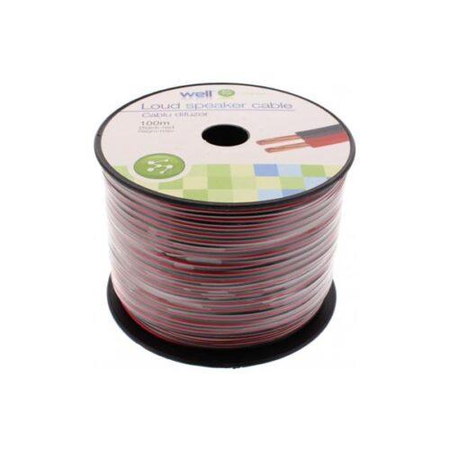 Καλώδιο Ηχείου Well 100m 2x0.35mm2 CCA Μαύρο/κόκκινο LSP-CCA0.35BR-100-WL