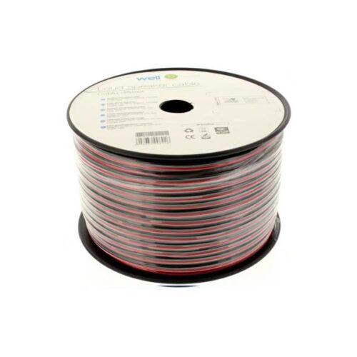 Καλώδιο Ηχείου Well 100m 2x2.0mm2 CCA Μαύρο/κόκκινο LSP-CCA2.00BR-100-WL