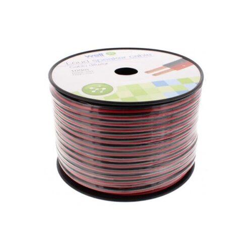 Καλώδιο Ηχείου Well 100m 2x2.50mm2 CCA Μαύρο/κόκκινο LSP-CCA2.50BR-100-WL