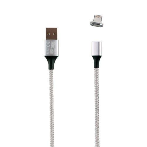 Καλώδιο Lightning USB Φόρτισης-Data Magnetic Braided 3.5A QC 2.0 1m Ασημί NSP