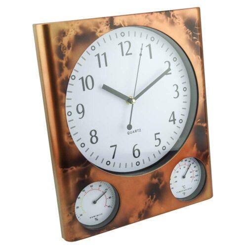 Αναλογικό ρολόι τοιχου με ενδείξεις θερμοκρασίας και υγρασίας.Διαστασεις: 32 x 27cmΕγγύηση Ενός Έτους