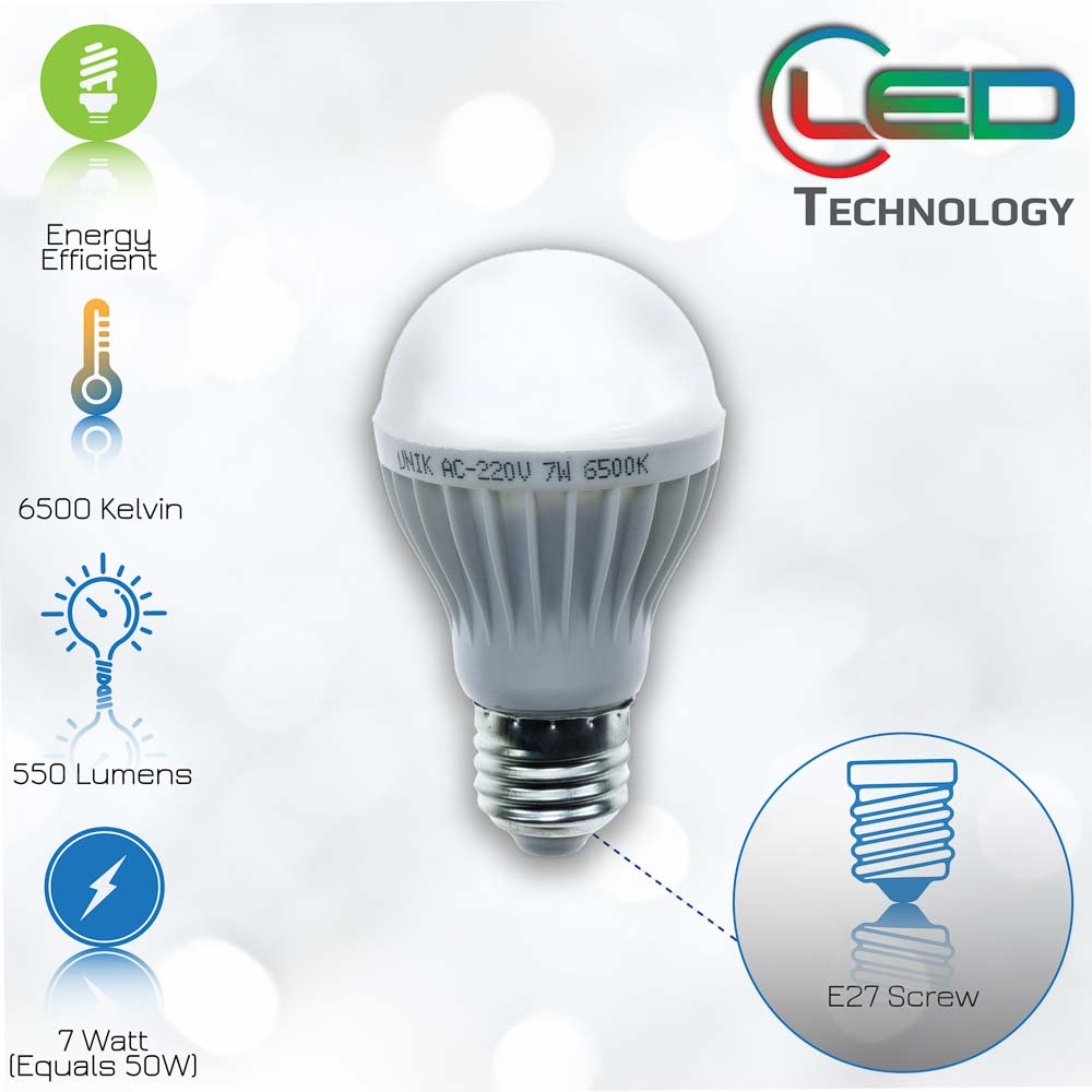 Σε λιγότερο από 1s φτάνει στο 60% της φωτεινότηταςΔυνατότητα ON-OFF μεγαλύτερη από 15.000 φόρες Είδος: LedΕφαρμογή: E27Ισχύς: 7WΤάση: AC220Γωνία φωτός: 140°