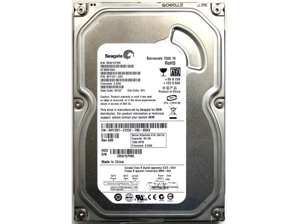 "HDD SEAGATE 80GB SATA II 7200.10 8MB BARRACUDA 3.5"" ST380815AS"