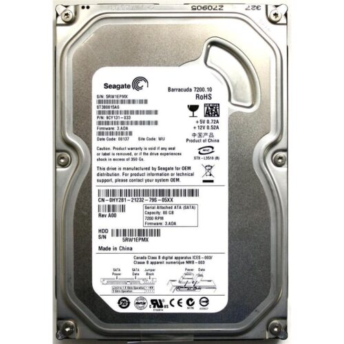 "HDD SEAGATE 80GB SATA II 7200.10 8MB BARRACUDA 3.5"" ST380815AS"
