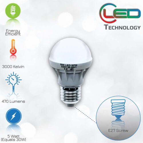 Λάμπα LED 5Whours live: 5.000Είδος: LedΕφαρμογή: E27Ισχύς: 5WΤάση: AC220