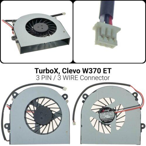Ανεμιστήρας TurboX Clevo W350 / W350ETQ / W370 / W370ET / W370S / W370SS / W370ST / W370ETQ / W370SKQW6503-pin / 3-wire