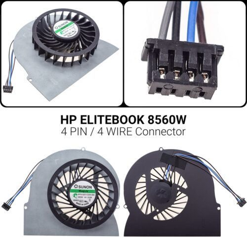 4 PIN4 WIREΑνεμιστήρας HP Elitebook  8560W8560W 8560P 8570W 6570B