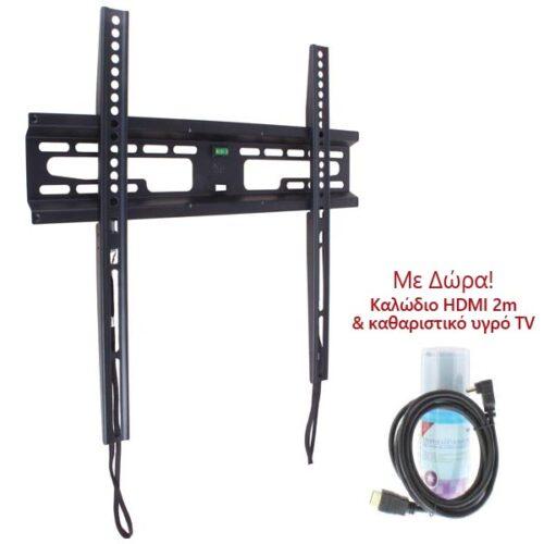 """Βάση FXS60 23""""-60"""" Μαύρη Σταθερή με κορδόνι Well TVS-LCD-FXS60P-WL"""