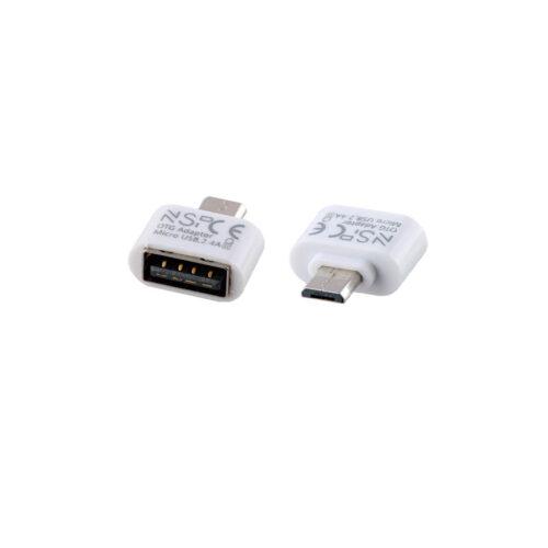 Μετατροπέας USB 2.0 OTG 2.4A FEMALE ΣΕ MICRO USB MALE WHITE NSP