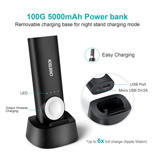 2-in-1 Wireless Power Bank with MFI for Apple Watch and Smarthone - 5000mAh
