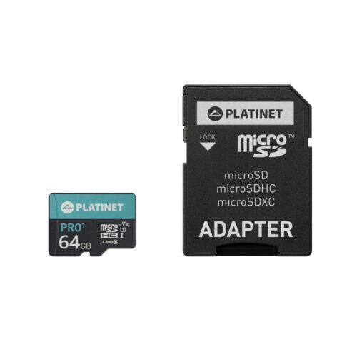 PLATINET microSDXC  SECURE DIGITAL + ADAPTER SD 64GB class10 U1 70MB/s