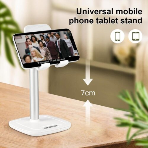 Tiltable smartphone holder with aluminum alloy - up to 10 inch - white
