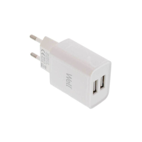 Universal 2xUSB FastTravel Wall Charger 5VDC/2.4A (12W) Λευκό Well PSUP-USB-W22401WE-WL