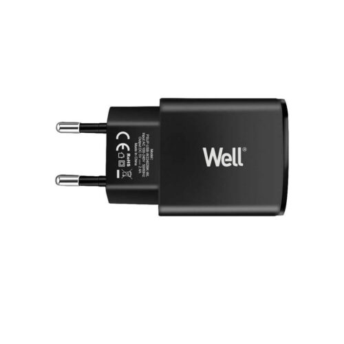 Universal 2xUSB FastTravel Wall Charger 5VDC/2.4A (12W) Μαύρο Well PSUP-USB-W22402BK-WL