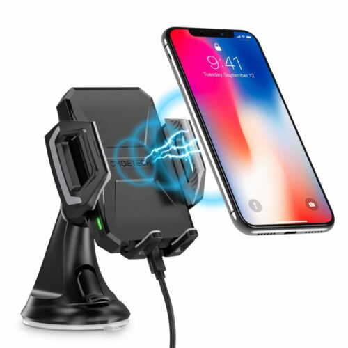 Wireless smartphone charger holder for in the car - 10 Watt - 360 degrees rotatable - Black