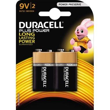 Duracell Battery Alkaline, 6LR61, 9V Plus Power Blister (2-Pack), 105522