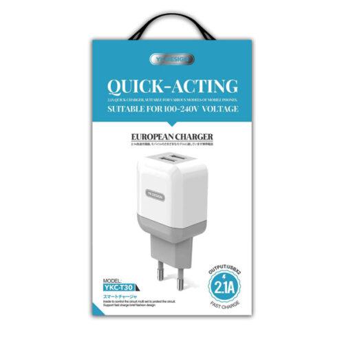 USB AC Adapter 2.1A for microUSB Device (YK-Design YKB-T30)