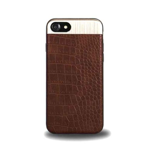 Case for iPhone 7+8, Leather Design (Brown)