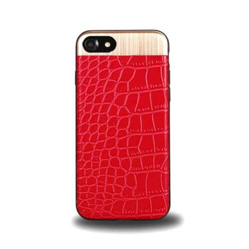 Case for iPhone 7+8, Leather Design (Red)